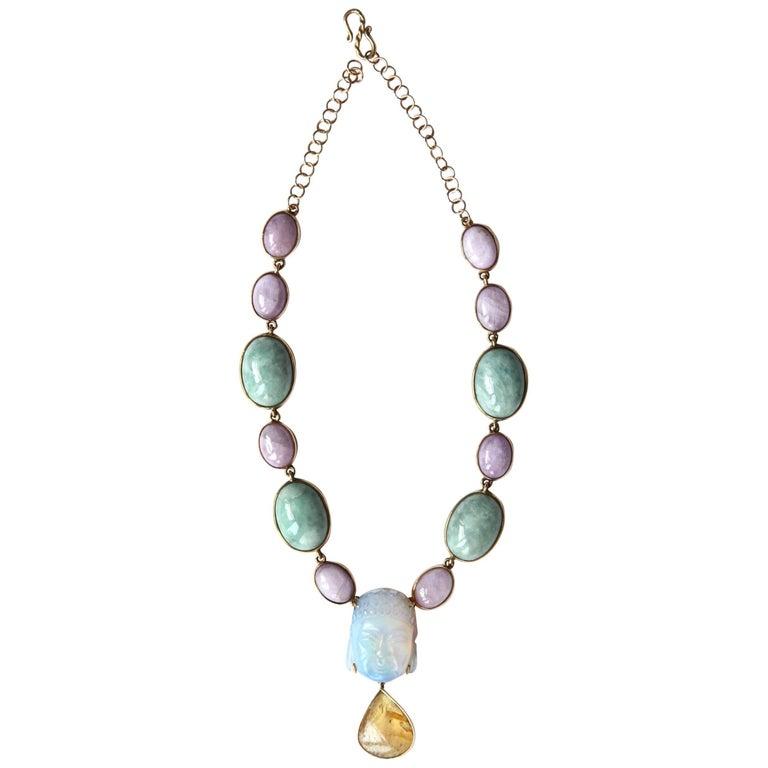 Jade Rose Opal Amber Gold Necklace