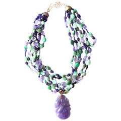 Jade Amethyst Amazzonite Gold Necklace