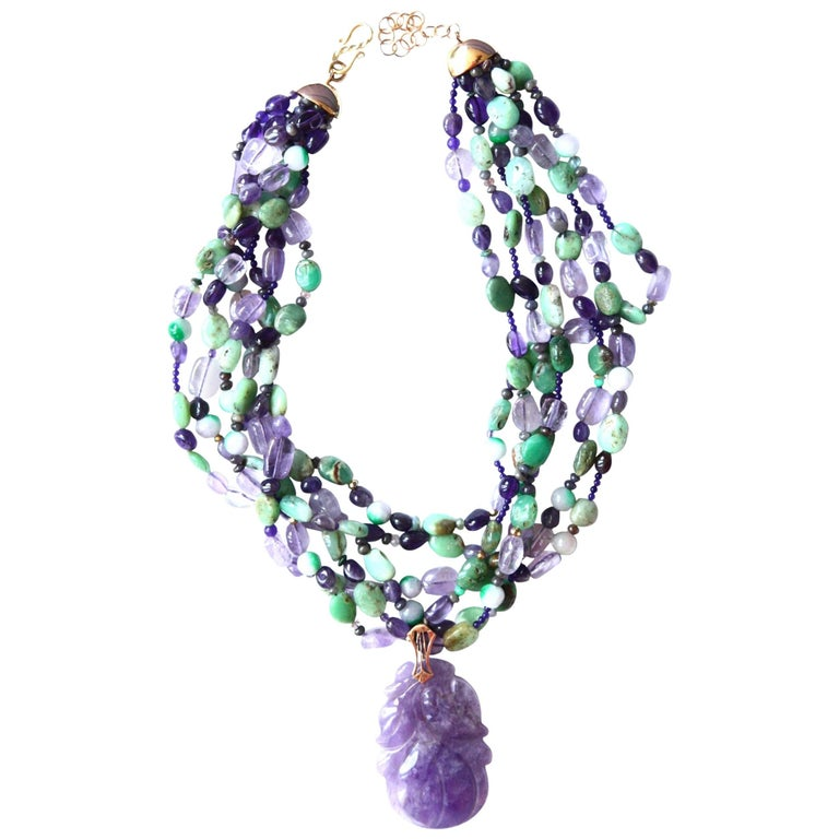 Jade Amethyst Amazzonite Gold Necklace