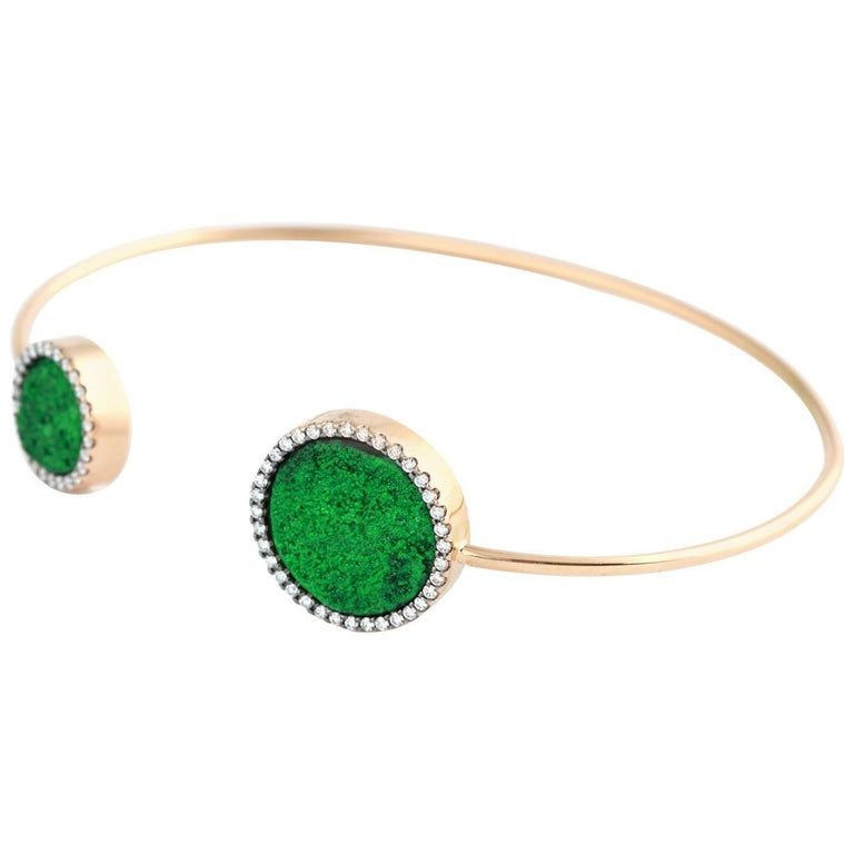 Karolin Rose Gold White Diamonds Uvarovite Pave Bracelet Bangle