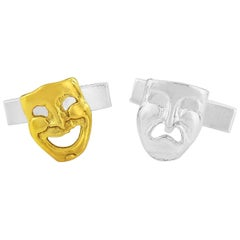 Comedy Tragedy Theatrical Cufflinks in Sterling Silver and 18 Karat Vermeil