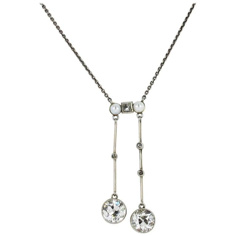 Edwardian Diamond and Pearl 'Lavalière' Pendant Necklace
