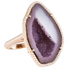 Karolin Agate Geode Purple/White Gold Cocktail Ring Pavé Diamonds