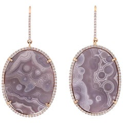 Karolin Rose Gold White Diamonds Pavé Hook Dangle Stud Agate Earrings