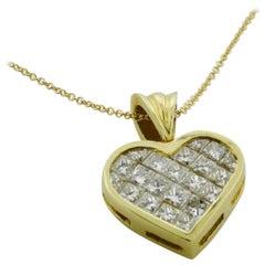 Invisibly Set Diamond Heart in 18 Karat Yellow Gold 2.25 Carat