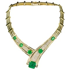 Colombian Emerald, Diamond and Gold Necklace
