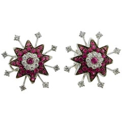 18 Karat White Gold Ruby and Diamond Starburst Earrings