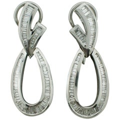 Dangling Diamond Baguette Earrings in White Gold 2.50 Carat