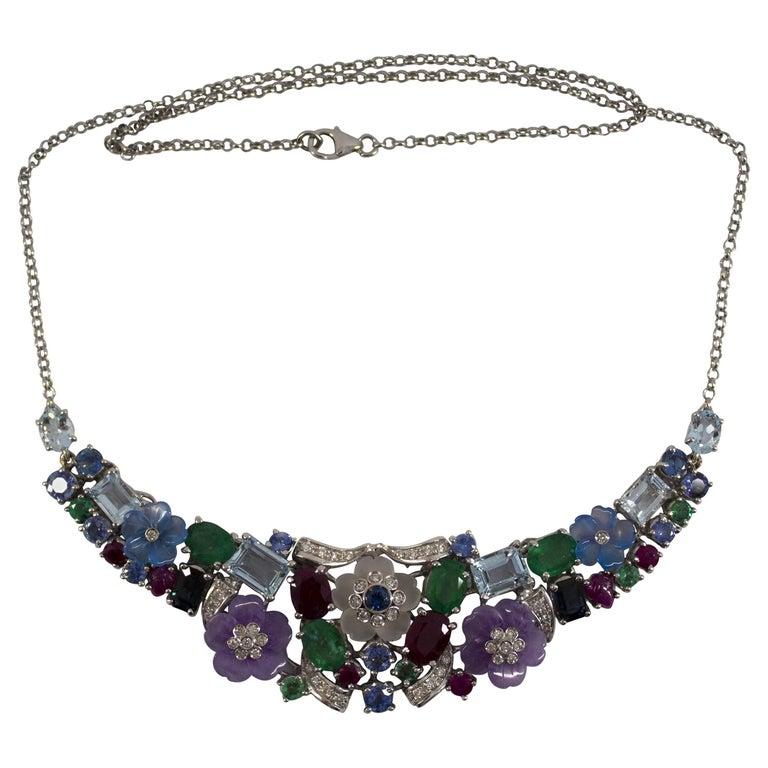 24.30 Carat Ruby Sapphire Emerald Aquamarine Diamond White Gold Flowers Necklace