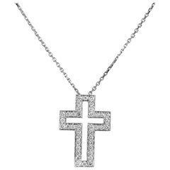 Boucheron 18 Karat White Gold Diamond Cross Pendant Necklace