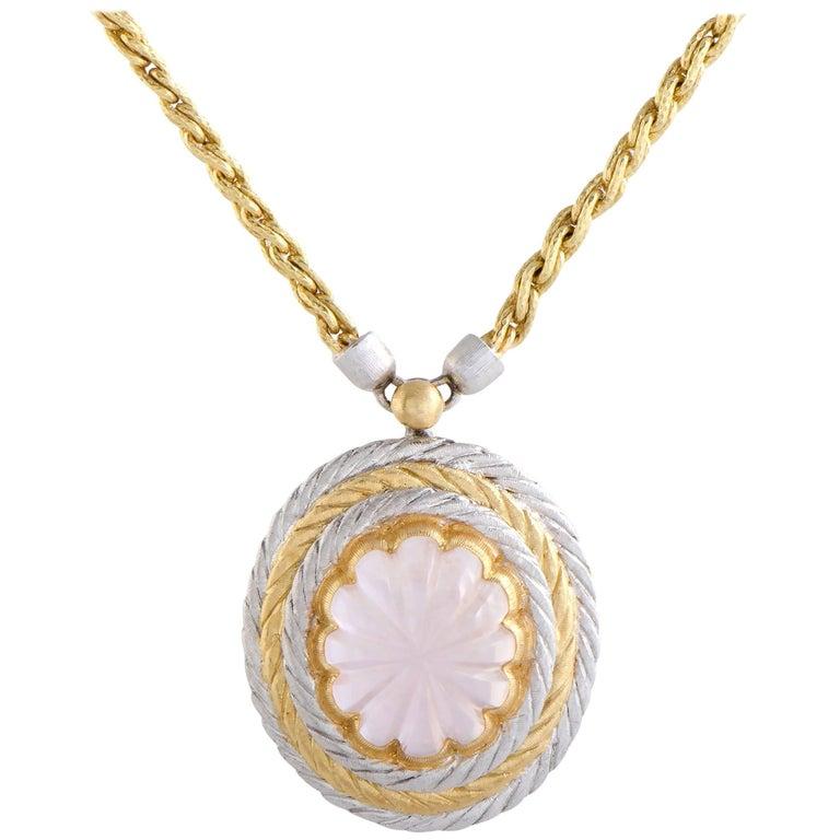 18 Karat Yellow and White Gold Pink Tourmaline Oval Pendant Necklace