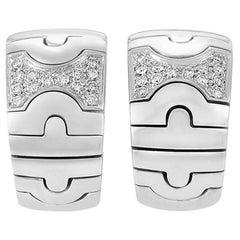 Bvlgari Parentesi 18 Karat White Gold Diamond Huggie Earrings