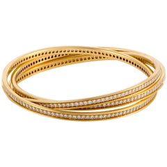 Cartier Trinity 18 Karat Yellow Gold Full Diamond Pave Rolling Bangle Bracelet