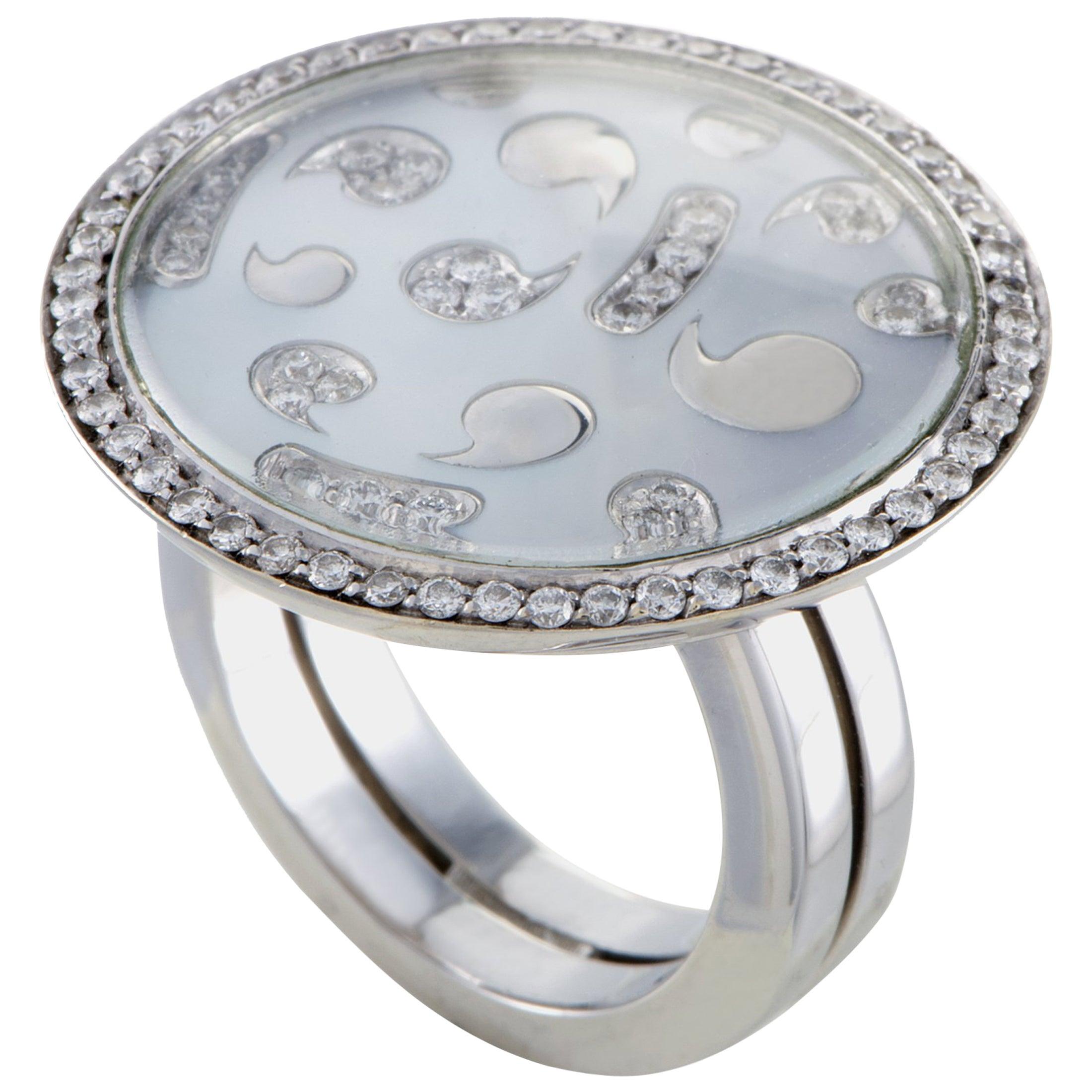 891694c6a0f Korloff Womens 18 Karat White Gold Diamond and Mother-of-Pearl Round Ring  at 1stdibs