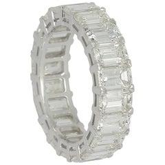Emerald Cut Diamond Eternity Band Ring 7.10 Carat
