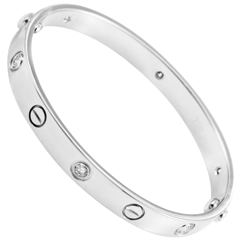Cartier Love 18 Karat White Gold Six Diamond Bracelet