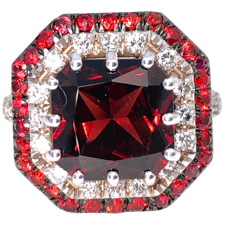 5.30 Carat Natural Red Spessartine Ruby White Diamond Setting Cocktail Ring