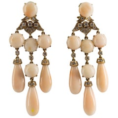 Pink Coral 1.25 Carat Diamond Yellow Gold Clip-On Earrings