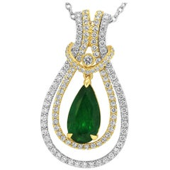 Interchangeable Emerald Diamond Two-Color Gold Drop Necklace