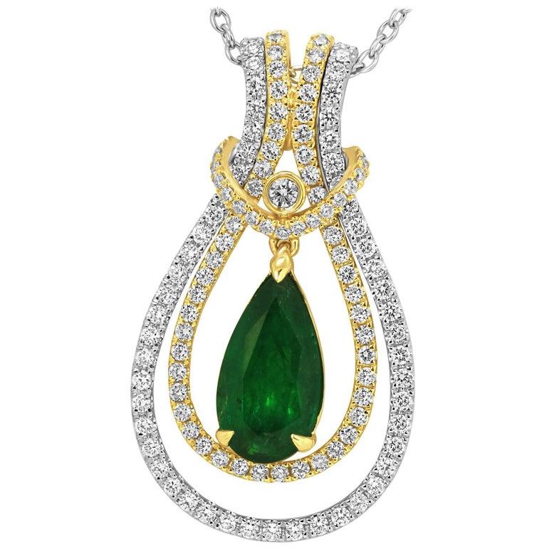 Interchangeable Emerald Diamond Two-Color Gold Drop Necklace