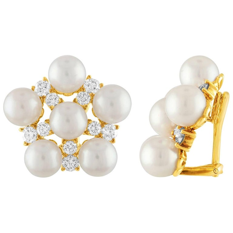 2.00 Carat Diamond and Pearl Cluster Clip-On Gold Earrings