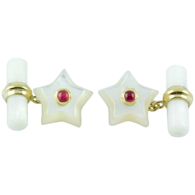 Yellow Gold Star Cufflinks Mother-of-Pearl and Ruby
