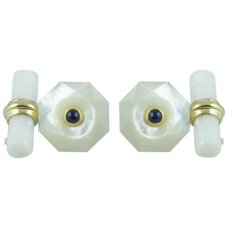 Yellow Gold Cufflinks in Mother-of-Pearl with Sapphires