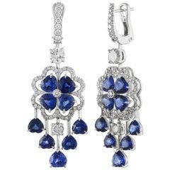 10.06 Carat Blue Sapphire and Diamond Gold Chandelier Earrings