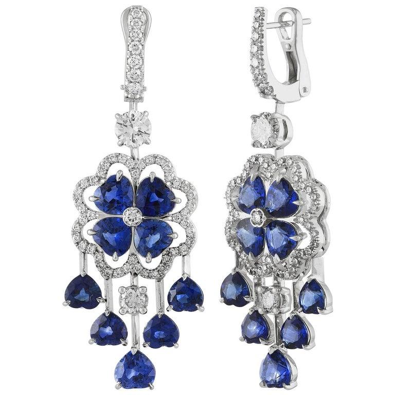 10.00 Carat Blue Sapphire and Diamond Gold Chandelier Earrings