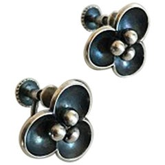 Hans Hansen Earscrews No 408 in Sterling Silver by Karl Gustav Hansen
