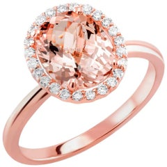 Rose Gold Oval Morganite Diamond Cluster Cocktail Ring