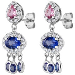 Halo Diamond Blue Pink Sapphire Drop Gold Earrings