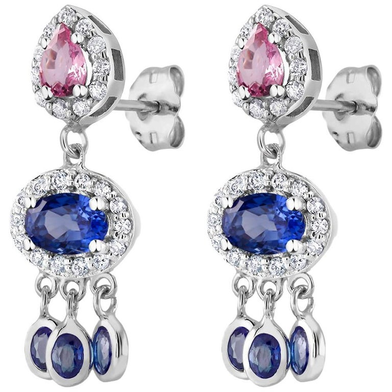 Ceylon Blue Pink Sapphire Set Halo Diamond Drop Gold Earrings