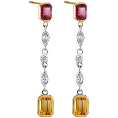 Drop Diamond Ruby Yellow Sapphire Earrings