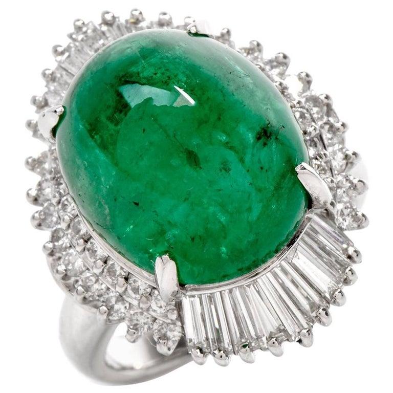 1980s Cabochon GIA Emerald Diamond Ballerina Cocktail Ring