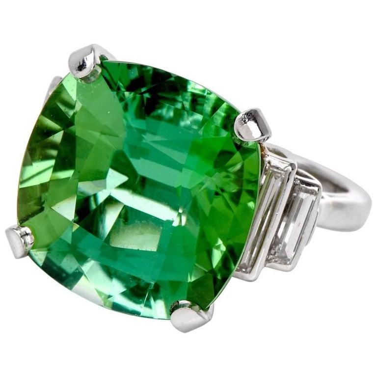 1980s Oscar Heyman Tourmaline Diamond Cocktail Ring