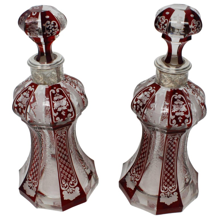 Pair of Ruby and Clear Bohemian Decanter, SS Collars, circa 1900