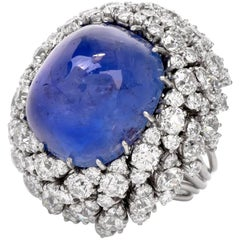 1960s Sugerloaf Sapphire Diamond Platinum Cocktail Ring
