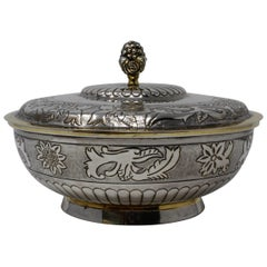 Sterling Silver Tane, Parcel-Gilt Covered Bowl