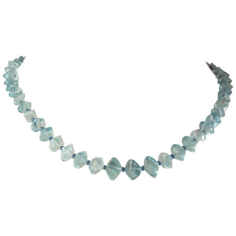 Faceted Aquamarine and Sapphire Necklace For Sale