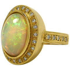 Certified 8 Carat Australian Opal Diamond Oval Cocktail Ring Dome Statement
