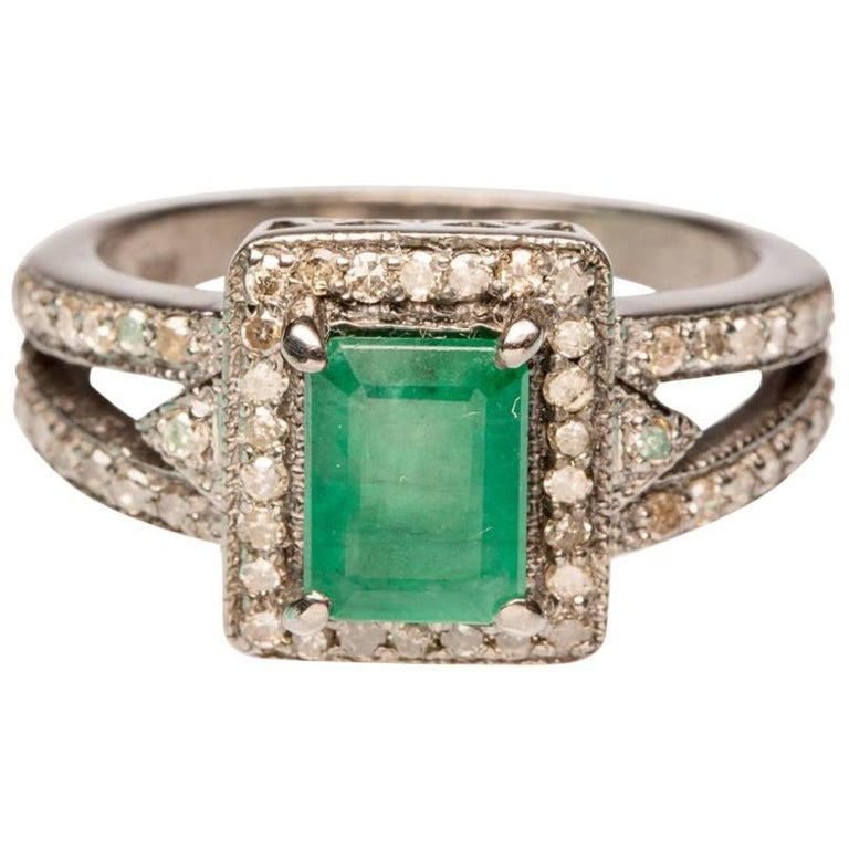Emerald Ring with Pave, Set Diamonds