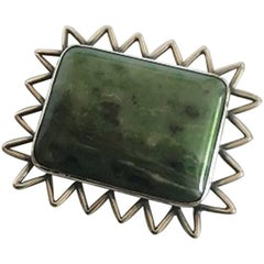 Hans Hansen Sterling Silver Brooch with Green Toned Stone