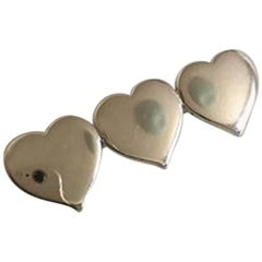 Hans Hansen Sterling Silver Brooch with Three Hearts