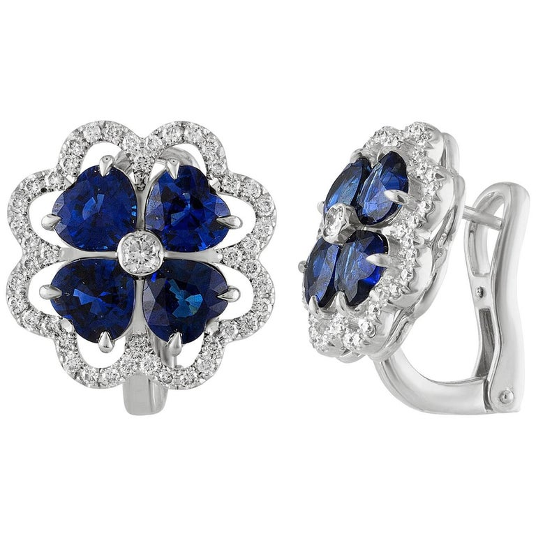 3.70 Carat Blue Sapphire and Diamond Gold Earrings