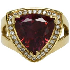 Triangle Tourmaline Cocktail Ring Red Modernist Statement Rubellite Diamond Halo