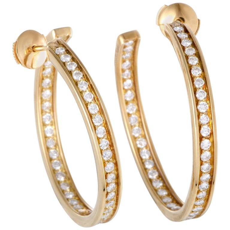 Cartier 18 Karat Yellow Gold Diamond Inside Out Large Hoop Earrings For Sale