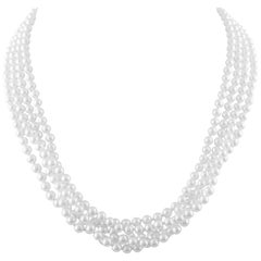 Four Strand Cultured Akoya Pearls with Australian Opal Gold Necklace