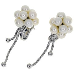Boucheron Grains de Raisin Pearls 18 Karat White Gold Stud Earrings