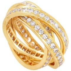 Cartier Trinity 18 Karat Yellow Gold Full Pave Three-Band Ring